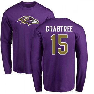 Michael Crabtree Baltimore Ravens Youth Purple Pro Line Any Name & Number Logo Long Sleeve T-Shirt -