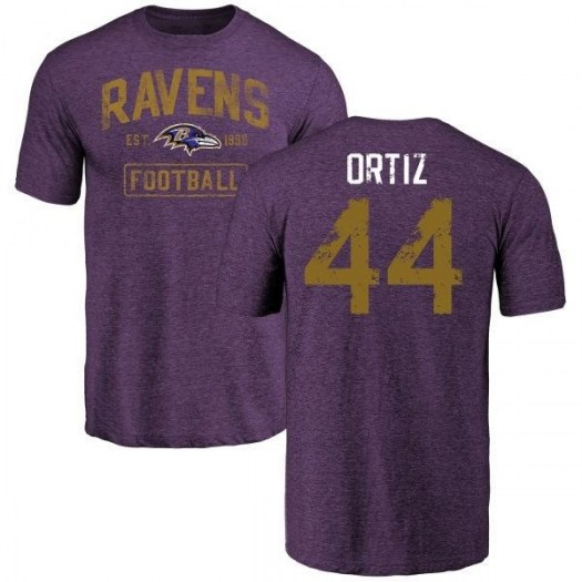 Ricky Ortiz Baltimore Ravens Men's Purple Distressed Name & Number Tri-Blend T-Shirt
