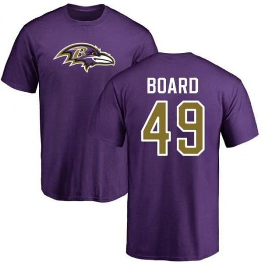 Chris Board Baltimore Ravens Youth Purple Any Name & Number Logo T-Shirt -