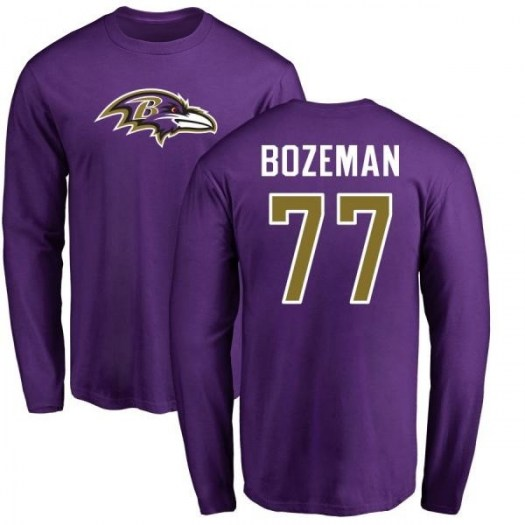 Bradley Bozeman Baltimore Ravens Youth Purple Pro Line Any Name & Number Logo Long Sleeve T-Shirt -