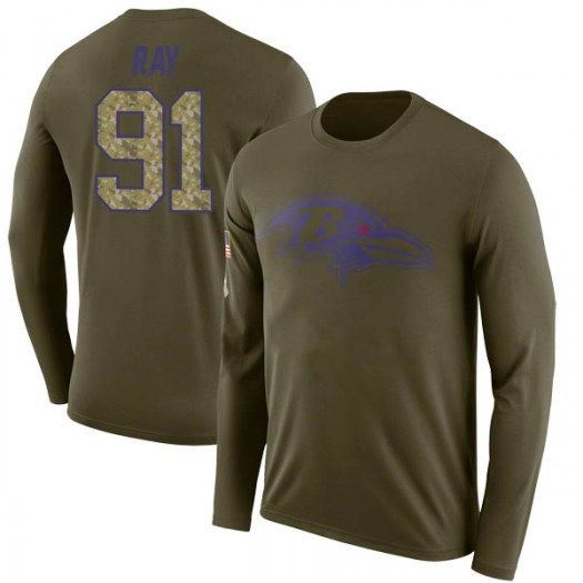 Shane Ray Baltimore Ravens Men's Legend Olive Salute to Service Sideline Long Sleeve T-Shirt