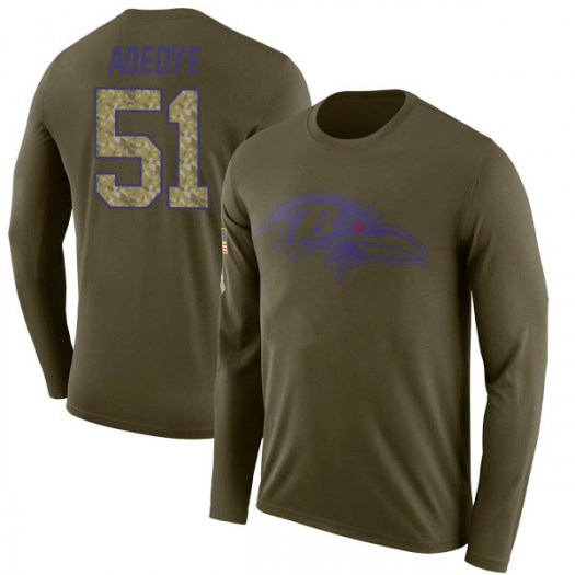 Aaron Adeoye Baltimore Ravens Youth Legend Olive Salute to Service Sideline Long Sleeve T-Shirt