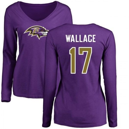 Mike Wallace Baltimore Ravens Women's Purple Pro Line Name & Number Logo Slim Fit Long Sleeve T-Shirt -
