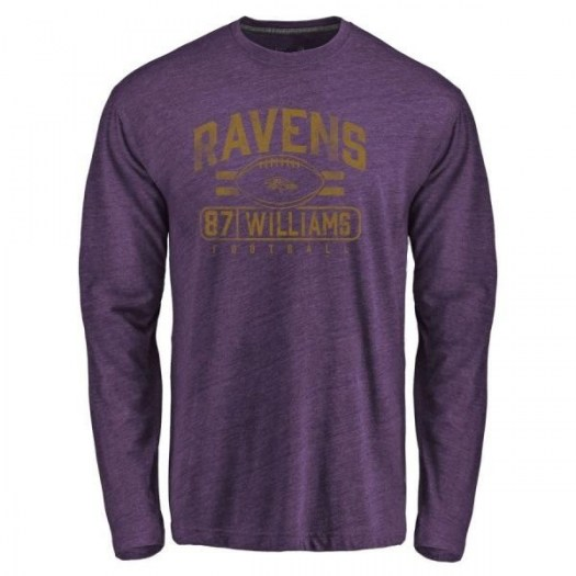 Maxx Williams Baltimore Ravens Men's Purple Pro Line by Branded Flanker Tri-Blend Long Sleeve T-Shirt -