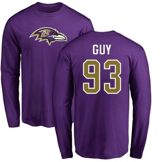 Lawrence Guy Baltimore Ravens Youth Purple Pro Line Any Name & Number Logo Long Sleeve T-Shirt -